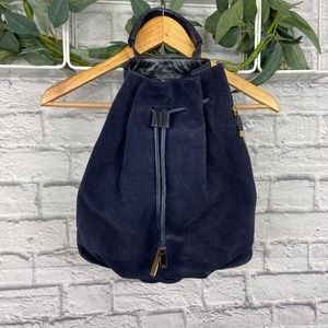 Halston Heritage Navy Blue Leather Suede Backpack